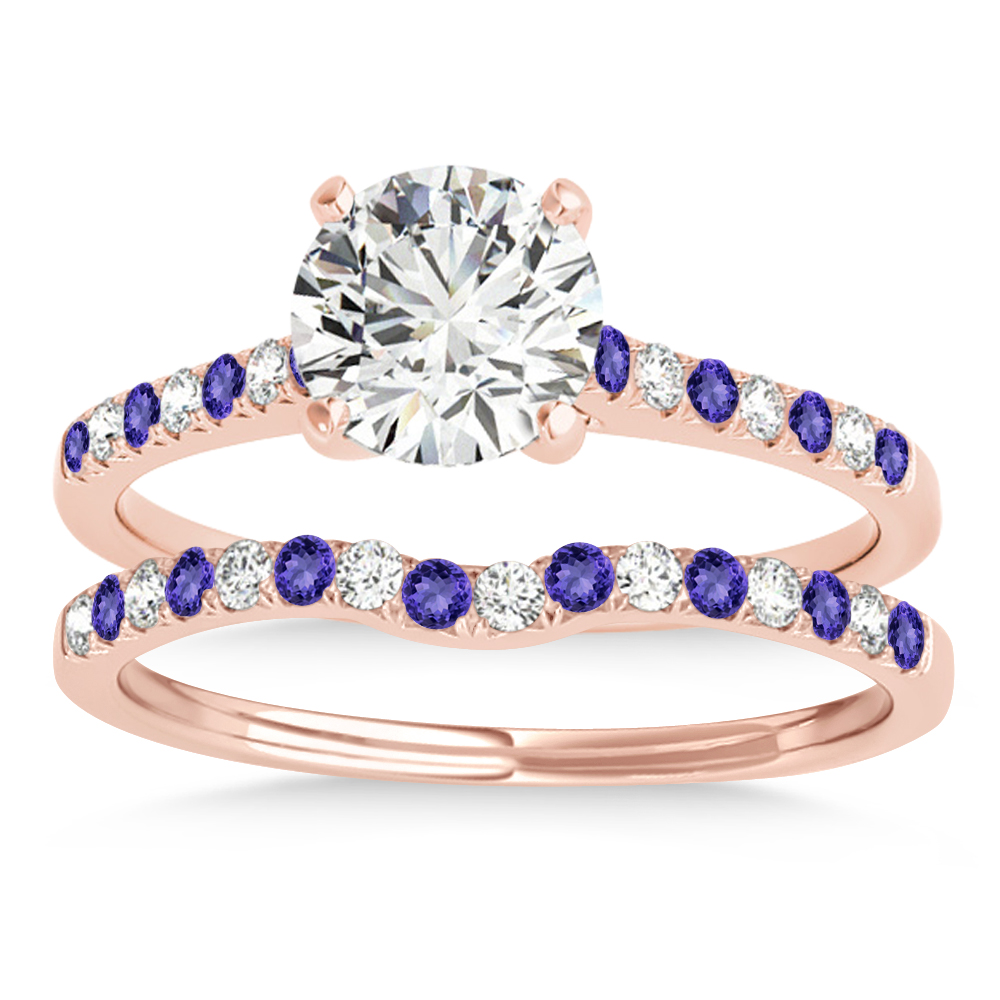Diamond & Tanzanite Single Row Bridal Set 14k Rose Gold (0.22ct)