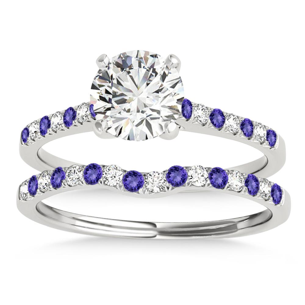 Diamond & Tanzanite Single Row Bridal Set 18k White Gold (0.22ct)