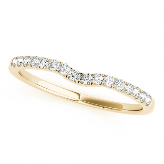 Diamond Curved Prong Wedding Band 14k Yellow Gold (0.11ct)