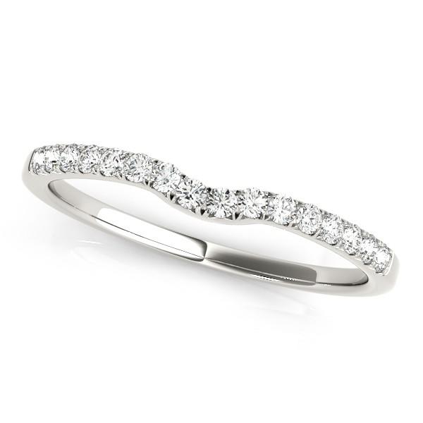 Diamond Curved Prong Wedding Band Palladium (0.11ct)