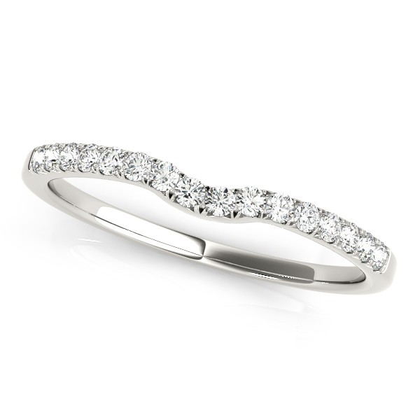 Diamond Curved Prong Wedding Band Platinum (0.11ct)