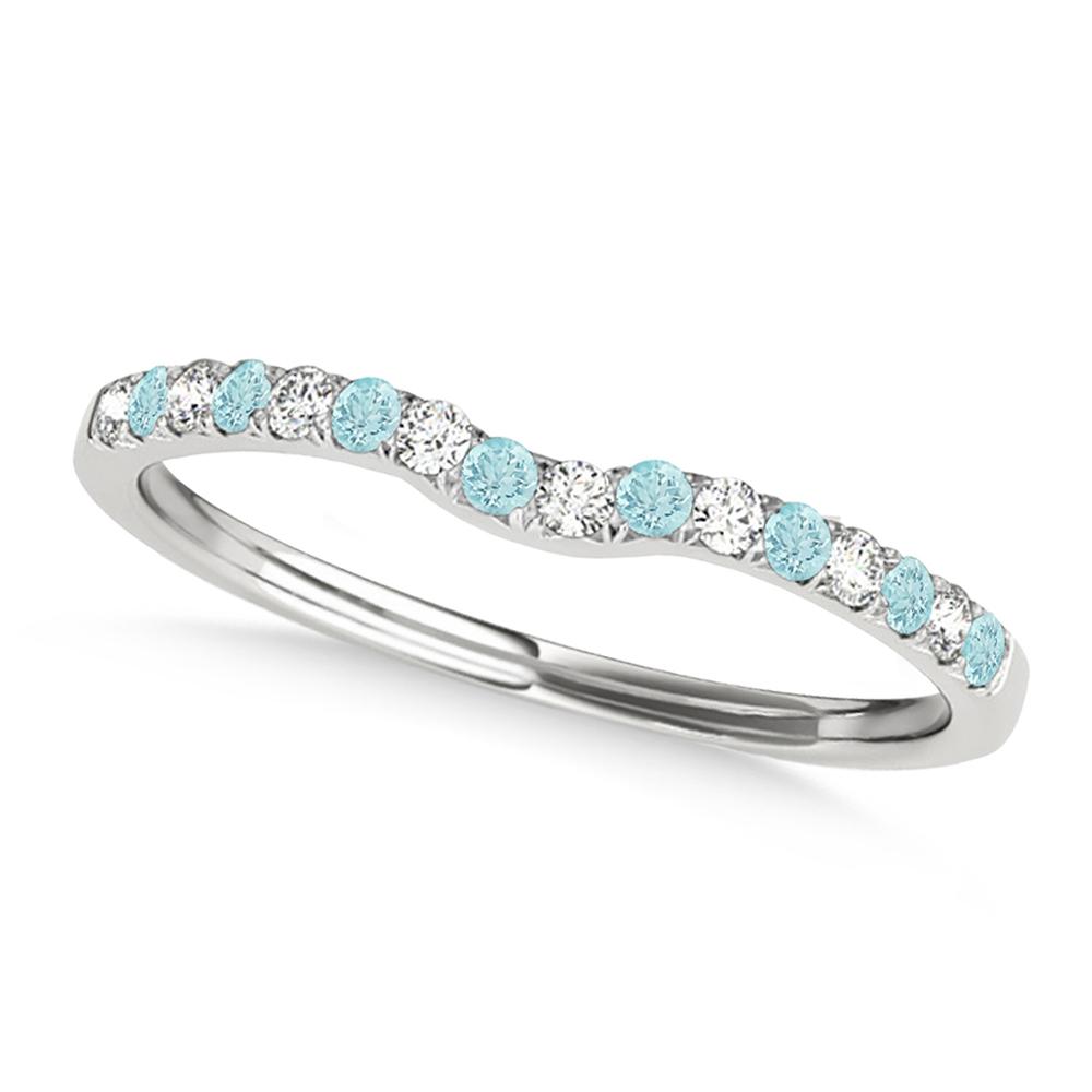 Diamond & Aquamarine Contoured Wedding Band 14k White Gold (0.11ct)