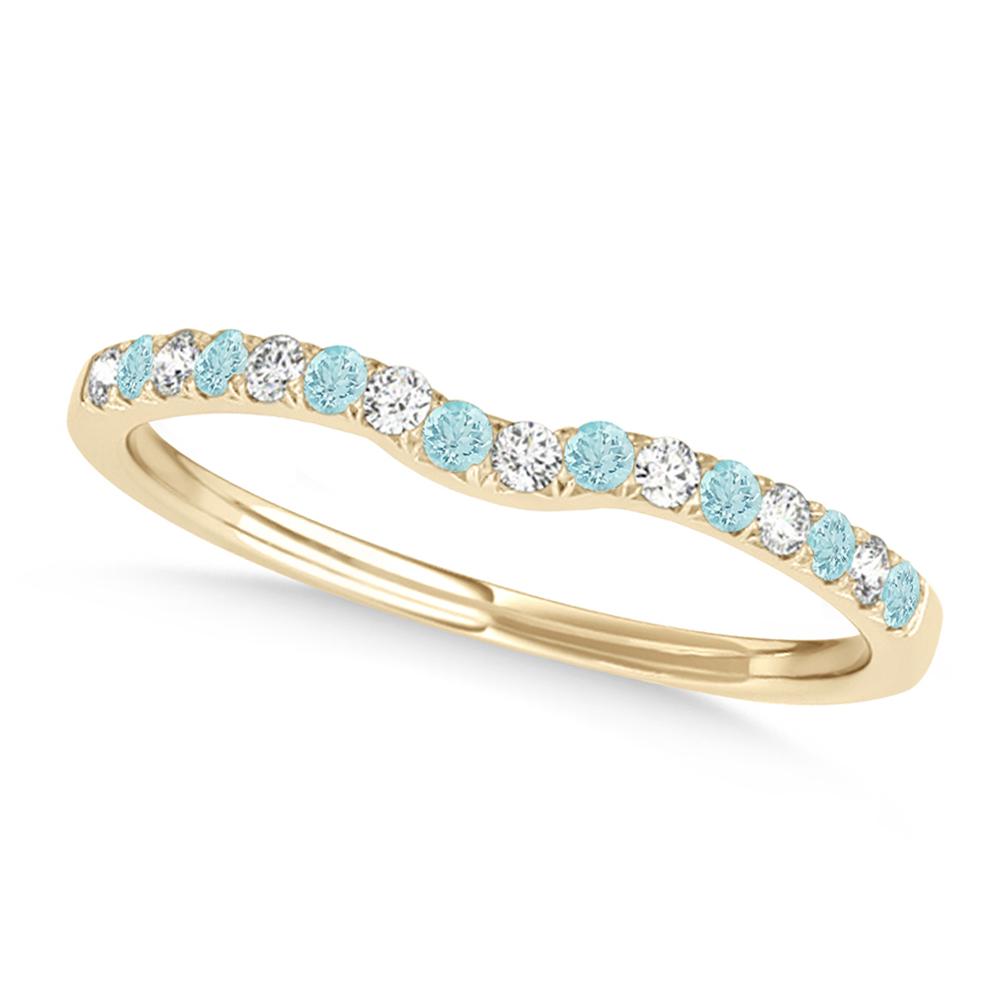 Diamond & Aquamarine Contoured Wedding Band 14k Yellow Gold (0.11ct)