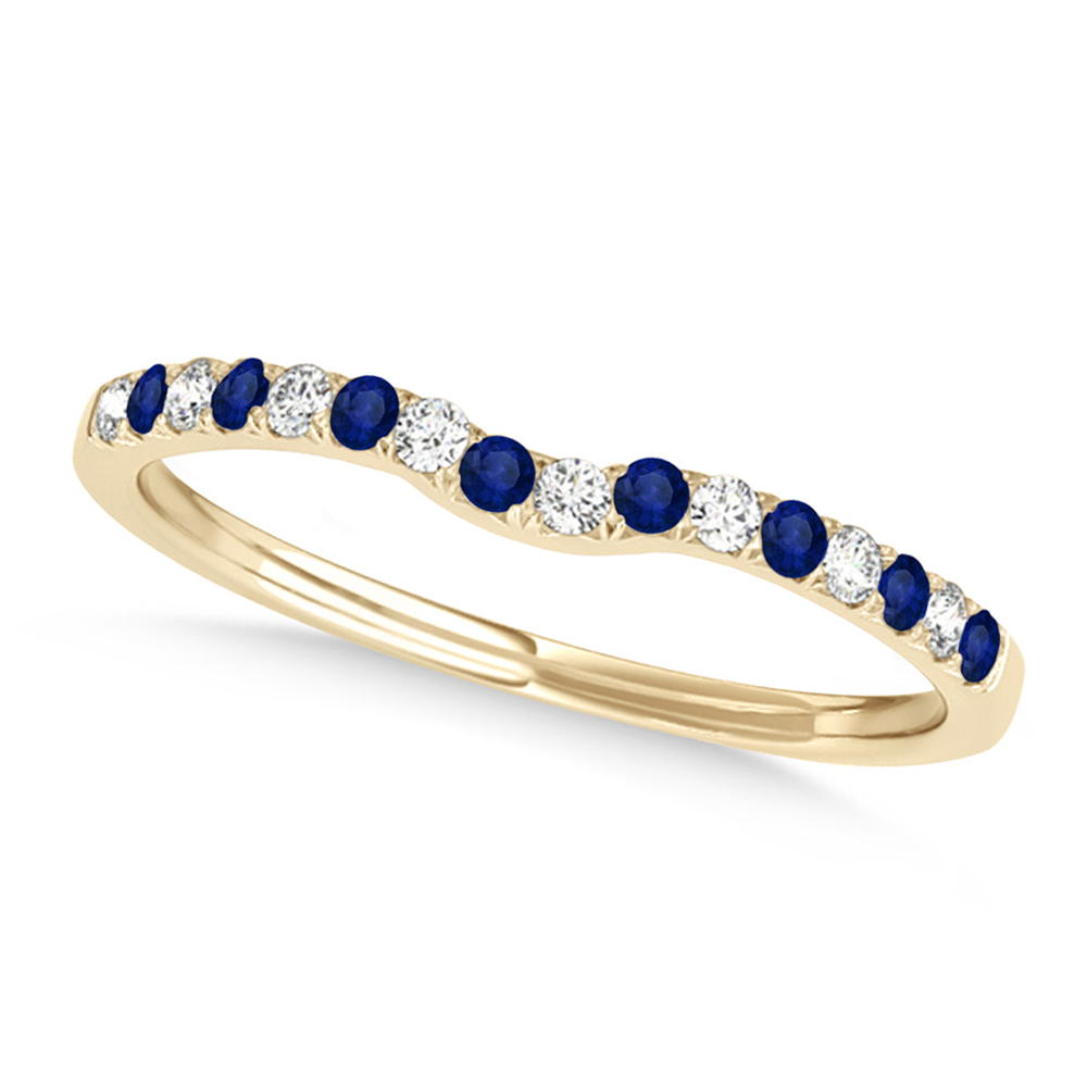 Diamond & Blue Sapphire Contoured Wedding Band 14k Yellow Gold (0.11ct)