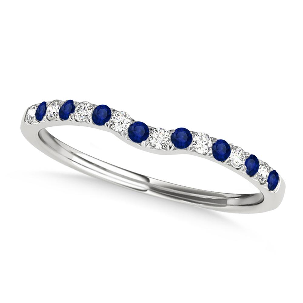 Diamond & Blue Sapphire Contoured Wedding Band Palladium (0.11ct)