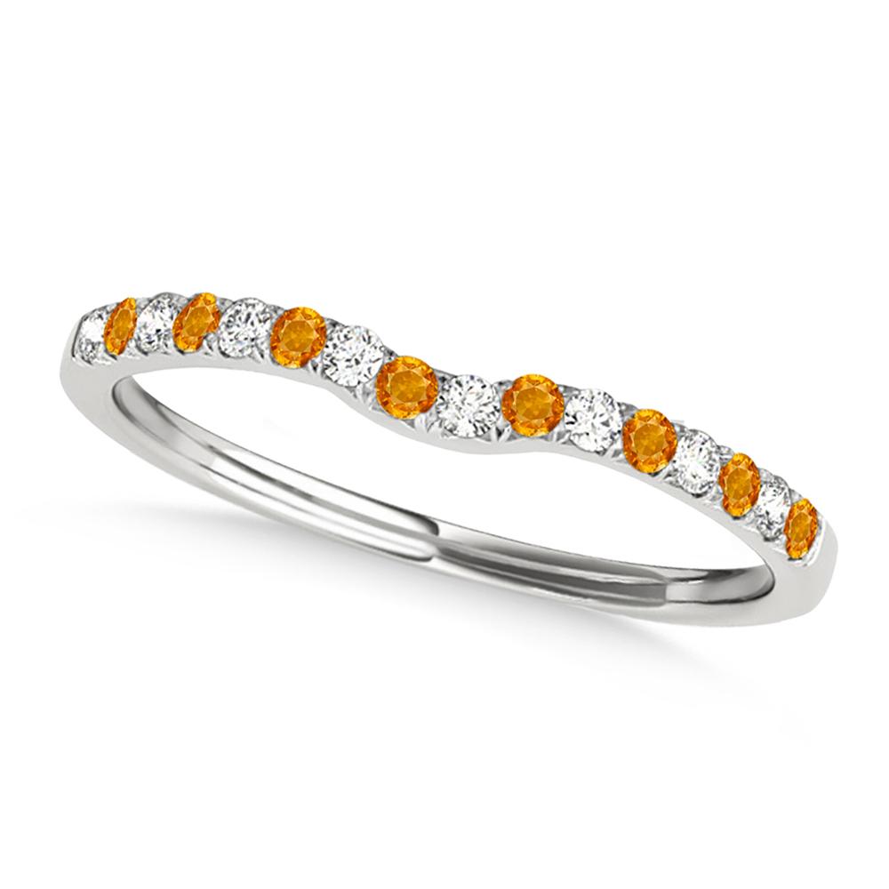 Diamond & Citrine Contoured Wedding Band 14k White Gold (0.11ct)