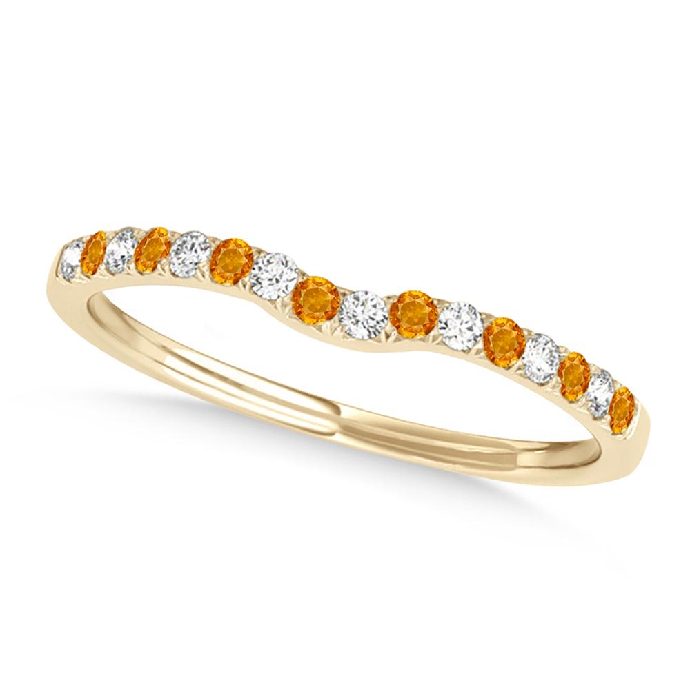 Diamond & Citrine Contoured Wedding Band 14k Yellow Gold (0.11ct)