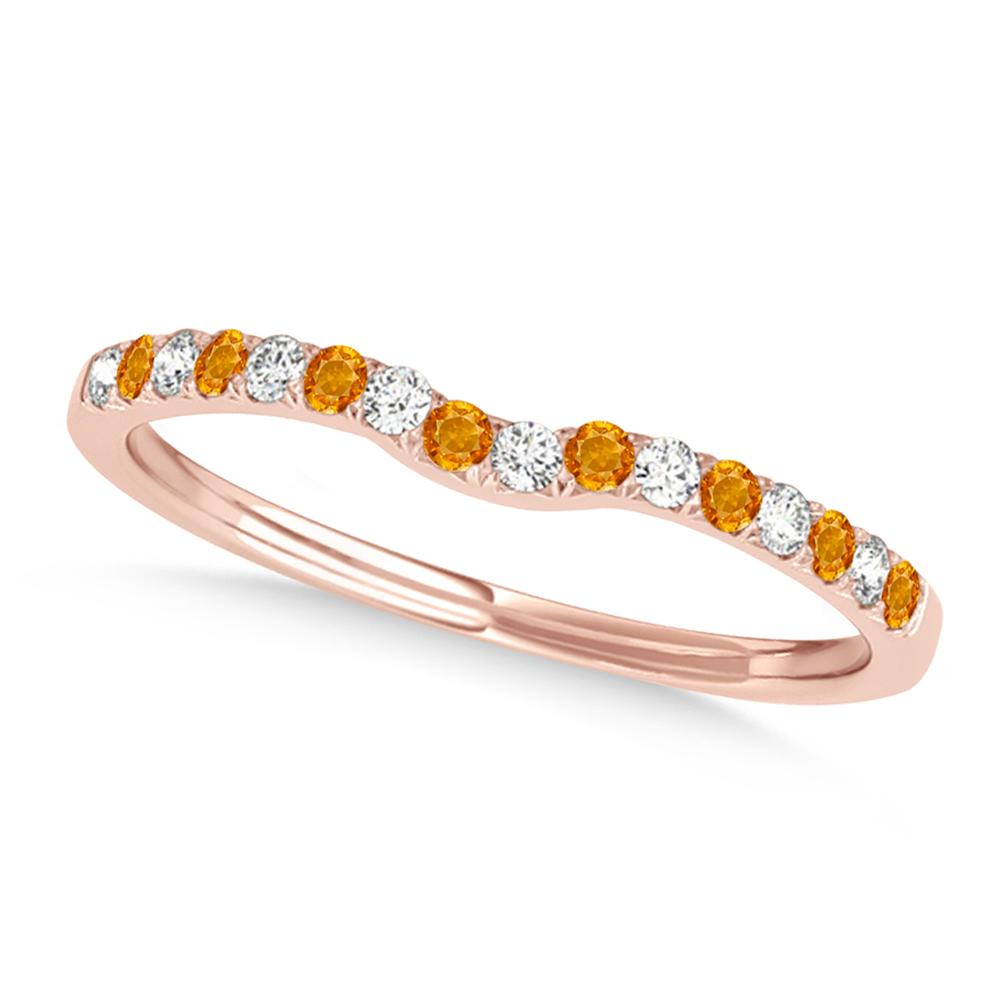 Diamond & Citrine Contoured Wedding Band 18k Rose Gold (0.11ct)