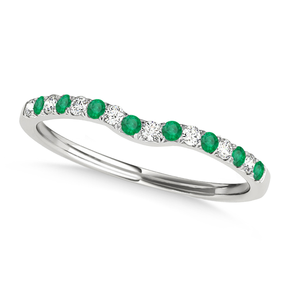 Diamond & Emerald Contoured Wedding Band 14k White Gold (0.11ct)