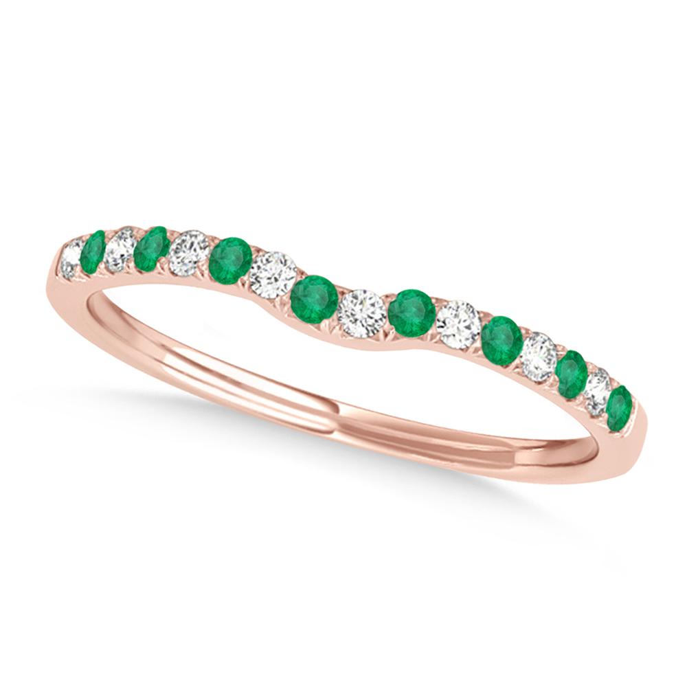 Diamond & Emerald Contoured Wedding Band 18k Rose Gold (0.11ct)