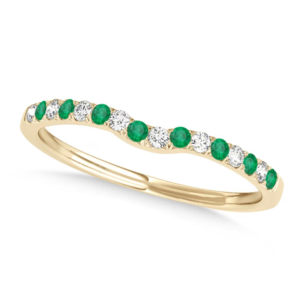 Diamond & Emerald Contoured Wedding Band 18k Yellow Gold (0.11ct)