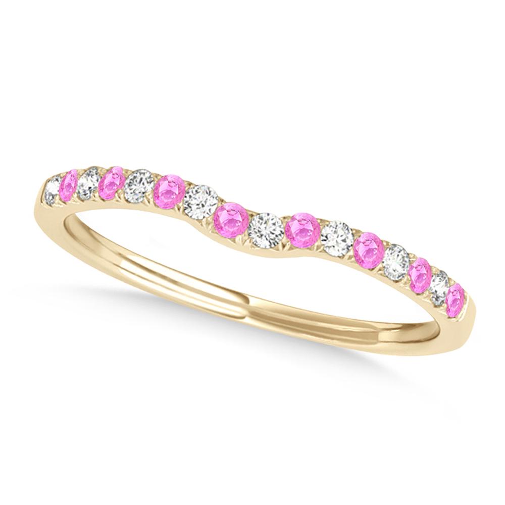 Diamond & Pink Sapphire Contoured Wedding Band 14k Yellow Gold (0.11ct)