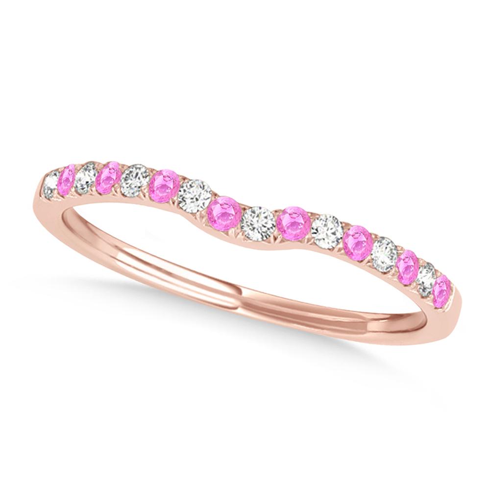 Diamond & Pink Sapphire Contoured Wedding Band 18k Rose Gold (0.11ct)