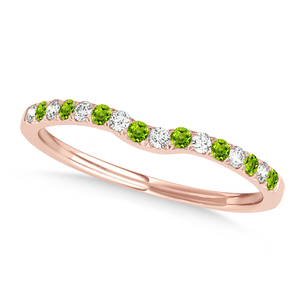 Diamond & Peridot Contoured Wedding Band 18k Rose Gold (0.11ct)