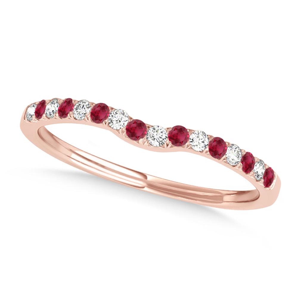 Diamond & Ruby Contoured Wedding Band 18k Rose Gold (0.11ct)