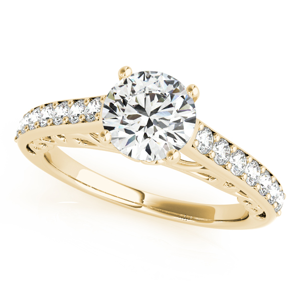 Vintage Style Cathedral Diamond Engagement Ring 14k Yellow Gold 2.33ct
