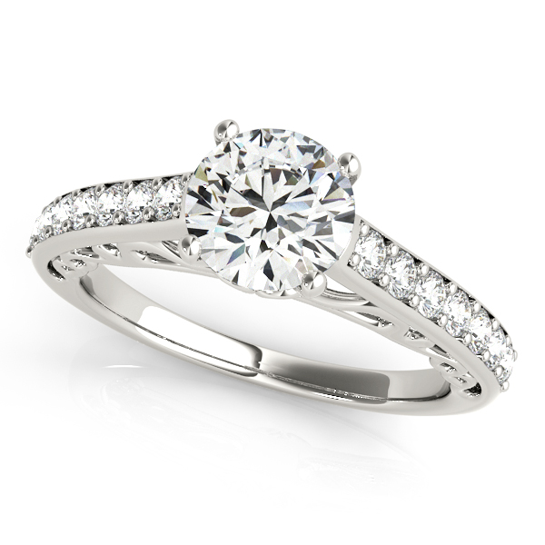 Vintage Style Cathedral Diamond Engagement Ring 18k White Gold 2.33ct