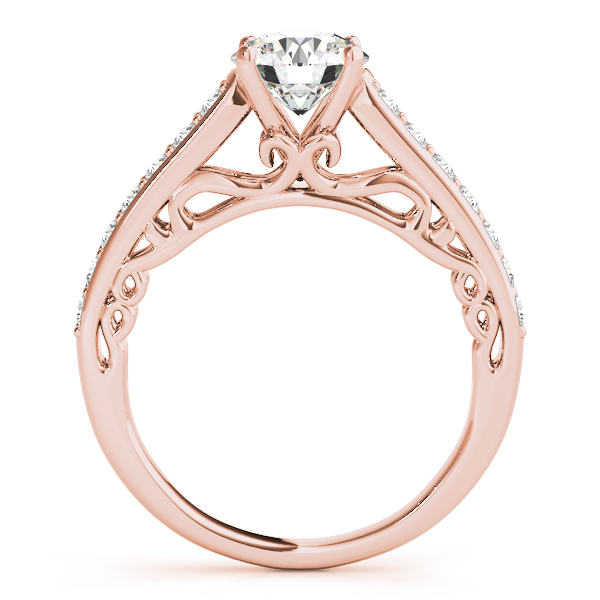 Vintage Style Cathedral Engagement Ring Bridal Set 14k R. Gold (2.50ct)