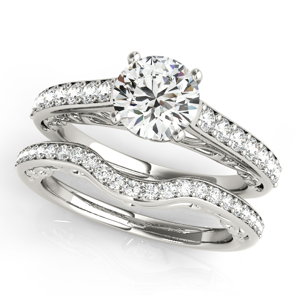 Vintage Style Cathedral Engagement Ring Bridal Set 18k W. Gold (2.50ct)