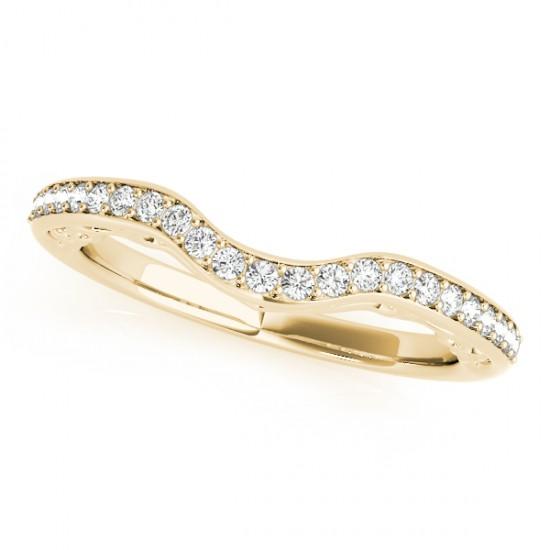 Contoured Diamond Wedding Band in 18k Yellow Gold (0.17ct)