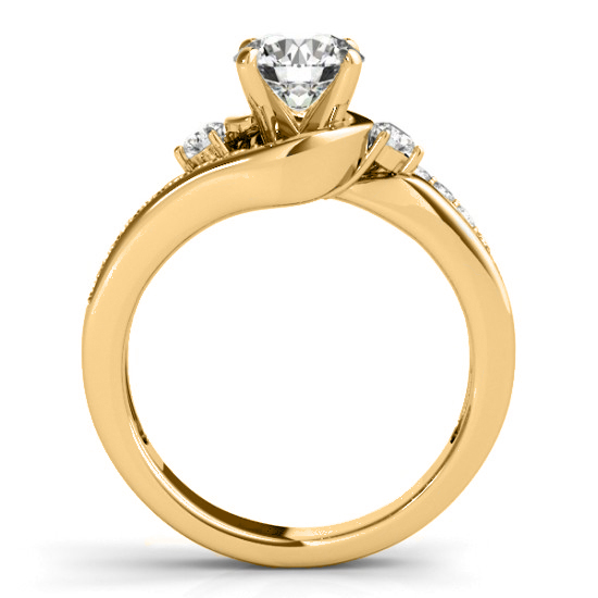 Swirl Design Diamond Engagement Ring Setting 14k Yellow Gold 0.38ct