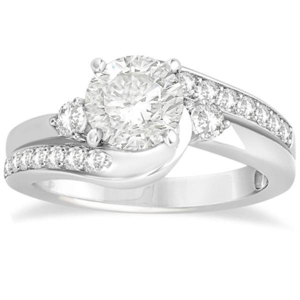 swirl engagement ring band bridal set 14k white gold 0 58ct