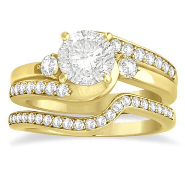 Diamond Swirl Engagement Ring & Band Bridal Set 14k Yellow Gold 0.58ct