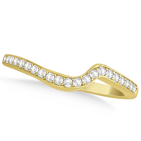 Diamond Accented Contour Shape Wedding Band in 14k Yellow Gold (0.20ct)