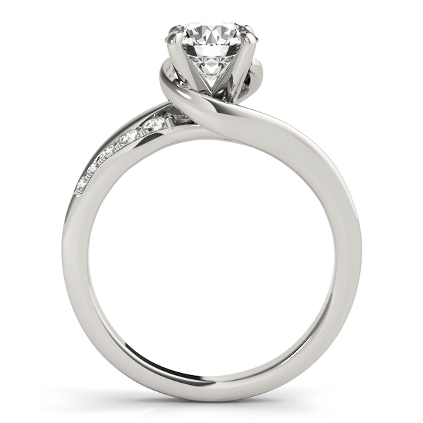 Diamond Engagement Ring Setting Swirl Design in 14k White Gold 0.25ct