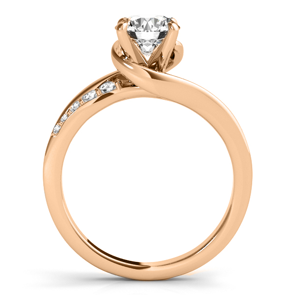 Diamond Swirl Engagement Ring & Band Bridal Set 14k Rose Gold 0.5oct