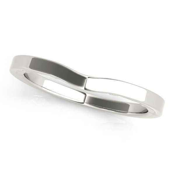 Curved Wedding Band 14k White Gold
