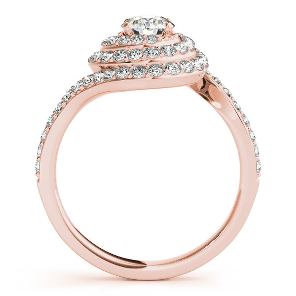 Swirl Double Diamond Halo Engagement Ring Setting 14k Rose Gold 0 88ct