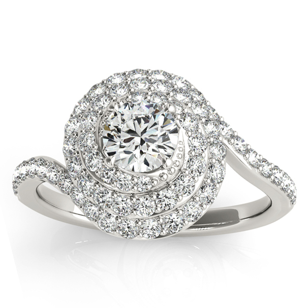 Swirl Double Diamond Halo Engagement Ring Setting Palladium 0 88ct
