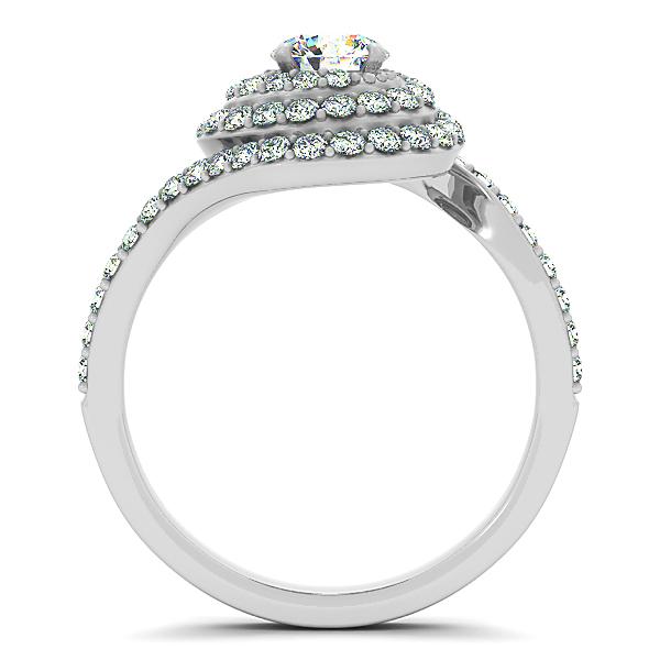 Diamond Double Halo Engagement Ring & Wedding Band 14k W. Gold 1.13ct