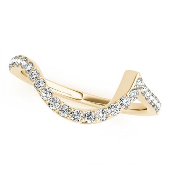 Contoured Wedding Band w/ Pave Set Diamonds 18k Yellow Gold 0.25ct
