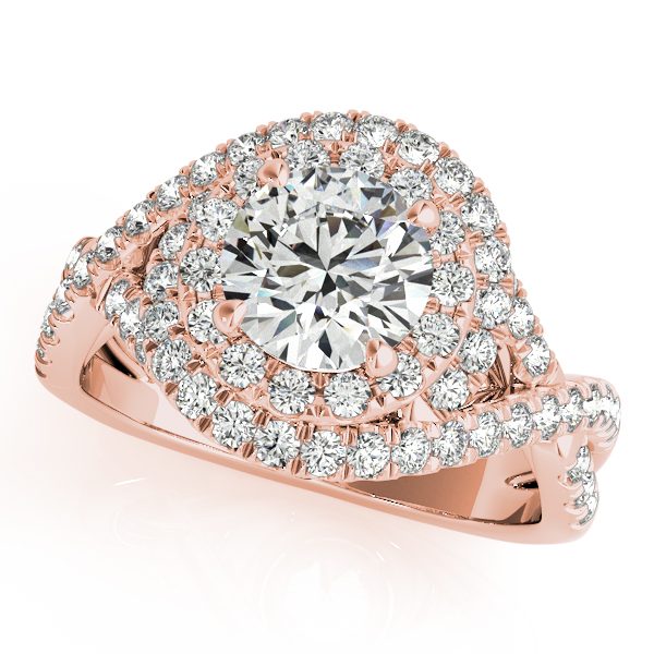 Infinity Twist Diamond Halo Engagement Ring 14k Rose Gold (1.63ct)