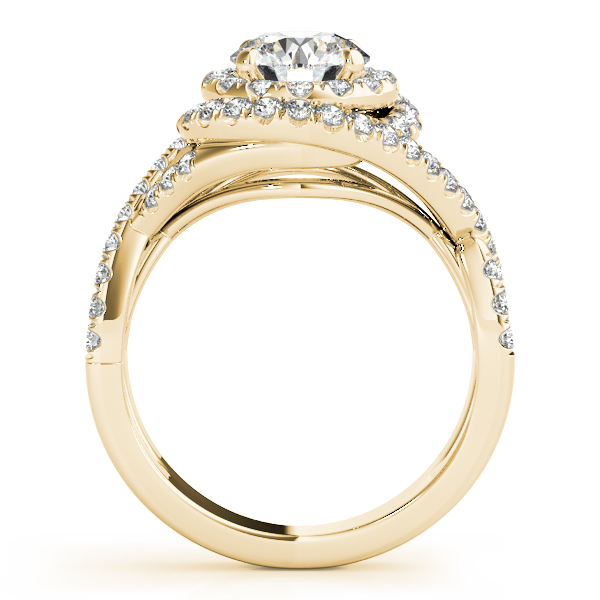 Infinity Twist Diamond Halo Engagement Ring 14k Yellow Gold (1.63ct)