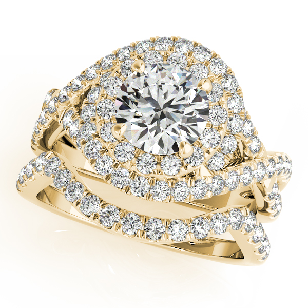Infinity Diamond Halo Ring & Curved Band Bridal Set 14k Y. Gold (1.83ct)