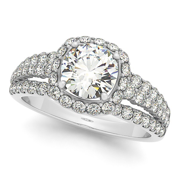 Diamond Halo Engagement Ring & Band Bridal Set 14k. White Gold 1.83ct