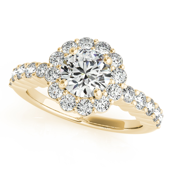 Floral Halo Round Diamond Engagement Ring 18k Yellow Gold (1.61ct)