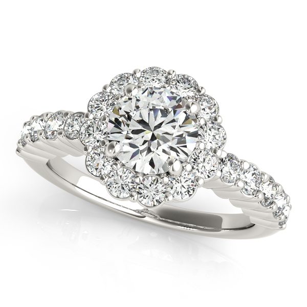Floral Halo Round Diamond Engagement Ring Platinum (1.61ct)