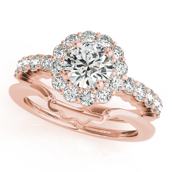Flower Halo Wedding: Floral Halo Round Diamond Engagement Ring 18k Rose Gold 1