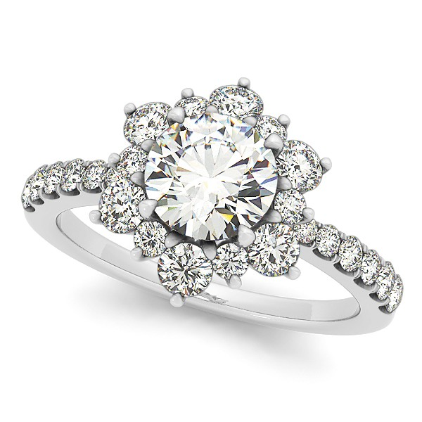 Diamond Semi Eternity Flower Engagement Ring & Band 14k W. Gold 1.90ct