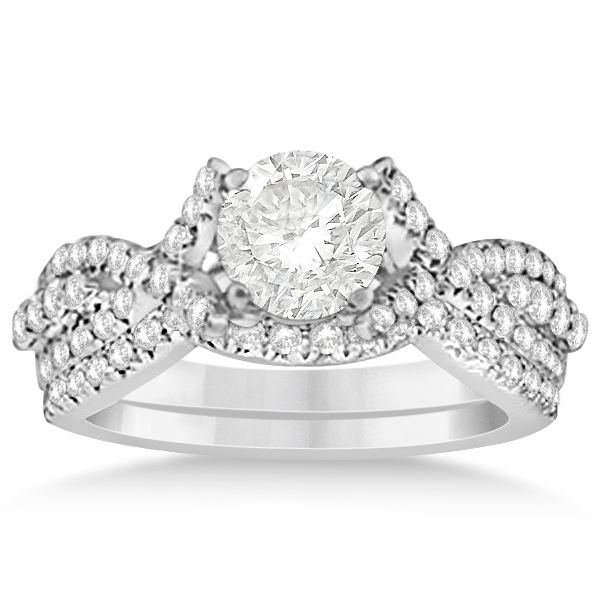 Diamond Engagement Ring & Wedding Band Bridal Set 14k W. Gold 0.70ct