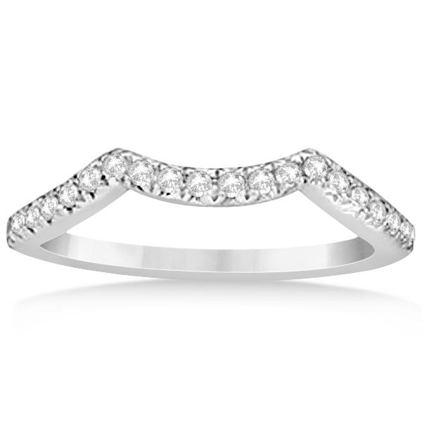 Semi Eternity Contour Diamond Wedding Band in 14k White Gold 0.20ct