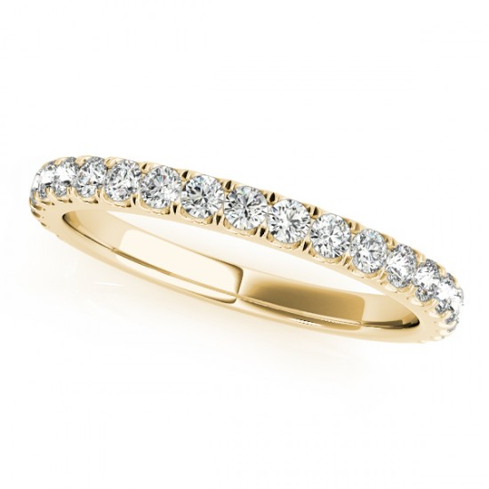 French Pave Diamond Ring Wedding Band 14k Yellow Gold (0.45ct)