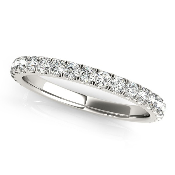 French Pave Diamond Ring Wedding Band 18k White Gold (0.45ct)