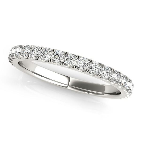 French Pave Diamond Ring Wedding Band Palladium (0.45ct)