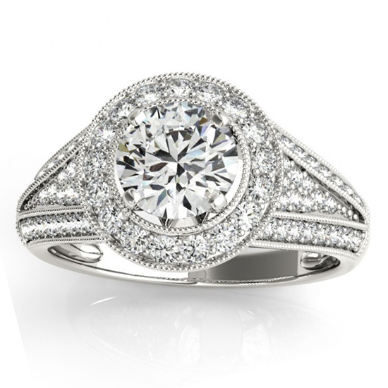 Vintage Diamond Halo Split Shank Engagement Ring 14k W. Gold 0.63ct