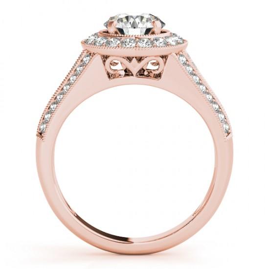 Halo Split Shank Diamond Accented Bridal Set in 14k Rose Gold 0.75ct